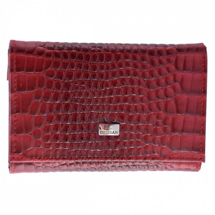 Portofel piele dama, din piele naturala, marca Desisan, 305-05CR-19-26, rosu