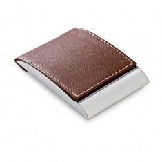 Portcard din piele ecologica si metal, Everestus, PPE11, maro, 97x63x14 mm, lupa de citit inclusa