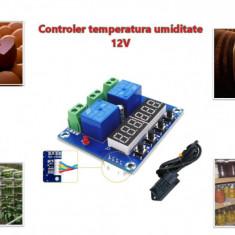 Termostat higrostat electronic digital controler temperatura umiditate 12V DC