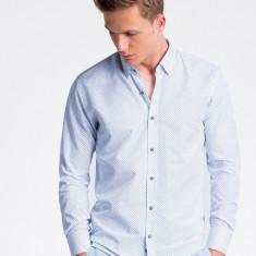 Camasa premium, casual, barbati - K477-alb-albastru