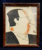 CARICATURA UNUI DOMN CU TIGARA , DESEN ORIGINAL IN PENITA SI CERACOLOR , SEMNAT DE IOSIF ROSS 1899 - 1974 , PERIOADA INTERBELICA