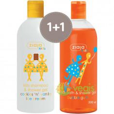 Pachet 1+1 Pentru Copii: Sampon Si Gel De Dus Cu Aroma De Prajituri Si Inghetata 400ml + Gel De Dus Bubble Gum 500ml