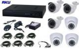 Kit Supraveghere Video AKU Ak9610, 6 camere interior/exterior, 1MP + DVR 8 canale, AHD + cablu
