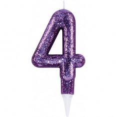 Lumanare aniversara cu sclipici pentru tort cifra 4 mov
