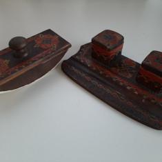 Set lemn vechi birou calimara presa hartie sugativa