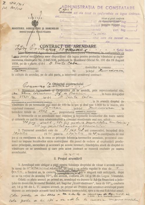 România, contract de arendare, Călan, 1941