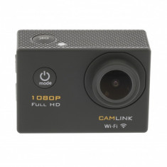 Camera video de actiune Full HD Camlink, 1080p, functie Wi-Fi, ecran TFT, microfon incorporat, negru
