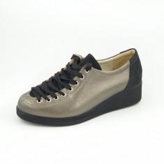 Pantofi dama, piele naturală bizon, combinate, Ionela
