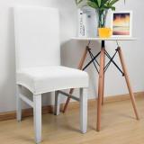Set 8 huse scaun universale, elastice pentru scaune ALB