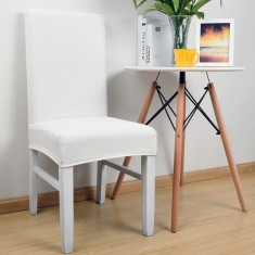 Set 6 huse scaun universale, elastice pentru scaune ALB foto