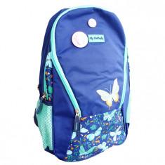 Ghiozdan liceu Pigna Fly Butterfly albastru inchis-turcoaz MCRS1878-1