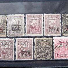 Lot marci postale Timbru de Ajutor cu supratipar MviR, 1917-1918