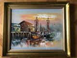 Tablou,pictura olandeza in ulei pe lemn,peisaj marin,tehnica spaclu, Peisaje, Altul