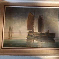 Tablou,pictura in ulei pe panza tema maritima,,barci cu panze, Nonfigurativ, Altul