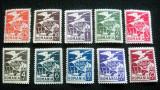 Timbru oficial Vultur cu steag si steme , 3 serii neuzate, MNH, 1929-30, Nestampilat