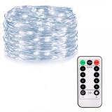 Instalatie luminoasa LED de Craciun, 100 led-uri, cu 8 functii, lumina alb-rece, 10m, Alimentat cu baterii 3xAA