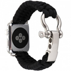 Cumpara ieftin Curea pentru Apple Watch 38 mm iUni Elastic Paracord Rugged Nylon Rope, Black