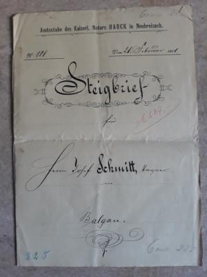 ACTE NOTARIALE VECHI 1911 - TIMBRU FISCAL -FILIGRAN -CALIGRAFIE - NOTAR IMPERIAL foto