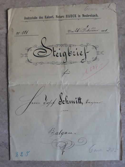 ACTE NOTARIALE VECHI 1911 - TIMBRU FISCAL -FILIGRAN -CALIGRAFIE - NOTAR IMPERIAL