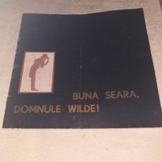 "PROGRAM TEATRUL NOTTARA 1975 SPECTACOL ""BUNA SEARA, DOMNULE WILDE!"""