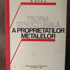 TEORIA STRUCTURALA A PROPRIETATII METALELOR-N.GERU