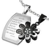 Pandantiv pentru cuplu, dreptunghi lucios cu o floare, argintiu cu negru