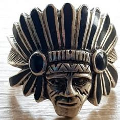 Ghiul CAP de INDIAN Inel argint 925 - Art Nouveau - bijuterii unicat