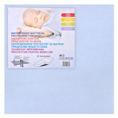 Cearceaf impermeabil protector pentru bebelusi, 70×140 cm, albastru