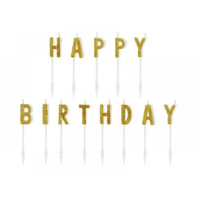 Lumanari pentru tort, Happy Birthday, Auriu, 2,5cm foto