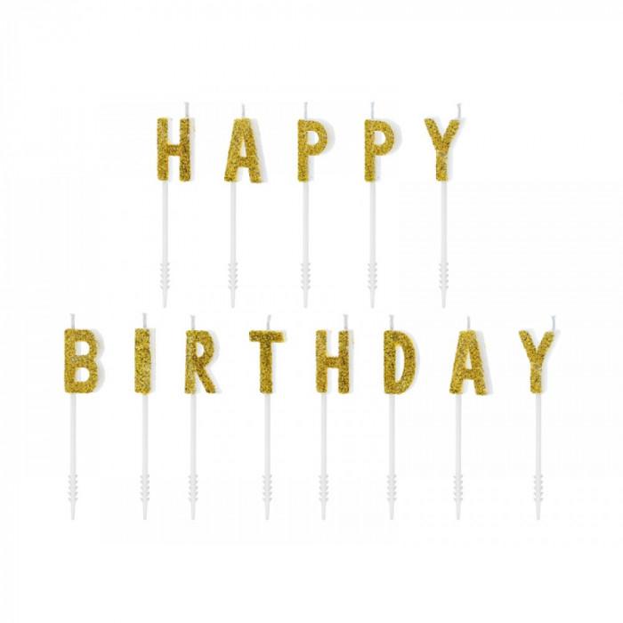 Lumanari pentru tort, Happy Birthday, Auriu, 2,5cm