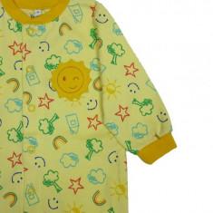 Salopeta / Pijama bebe cu desene Z62, 1-2 ani, 1-3 luni, 12-18 luni, 3-6 luni, 6-9 luni, 9-12 luni, Galben