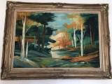 Pictura,tablou francez,ulei pe panza,tehnica cu spaclu