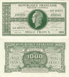 1944, 1.000 francs (P-107a.2) - Franța - stare XF!