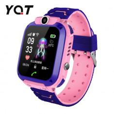 Ceas Smartwatch Pentru Copii YQT Q12W cu Functie Telefon, Localizare GPS, Istoric traseu, Apel de Monitorizare, Camera, Joc Matematic, Roz, Cartela SI