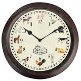 Ceas de perete pentru exterior, Farm Animals Maro, Ø30 cm