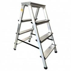 Scara dubla din aluminiu Strend Pro DD4, 2x4 trepte, max 125 kg