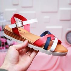 Sandale Purami rosii cu alb -rl