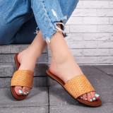 Papuci cu talpa joasa dama galbeni Palisa