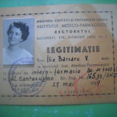 HOPCT LEGITIMATIE RECTORATUL INSTITUTUL MEDICO FARMACEUTIC 1959-MINIST SANATATII