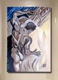 Tablou in ulei barbat Nud Abstract Gay Art marime 50 cm / 30 cm cu COA