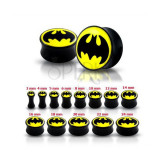 Plug pentru ureche, negru, lucios - Batman - Lățime: 6 mm