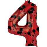 Cumpara ieftin Balon Folie Figurina Mickey Mouse Forever Cifra 4 rosu- 66 cm, Amscan 40134, 1 buc