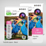 Hartie transfer termic A4 pentru tricouri negre, ProCart