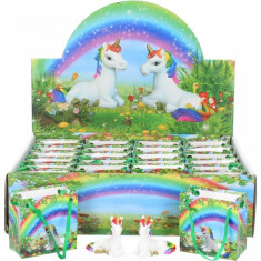 Decoratiune unicorn in punguta Dorintele Curcubeului 6 cm