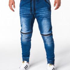 Blugi pentru barbati albastri cu siret elastici semi tur slim fit banda jos P651