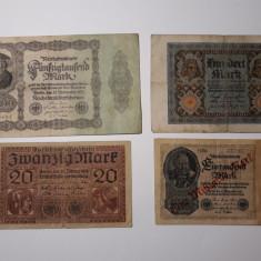BANCNOTE GERMANIA- 20MARCI 1918- 100MARCI 1920- 50000MARCI 1922- 1 MILIARD 1922