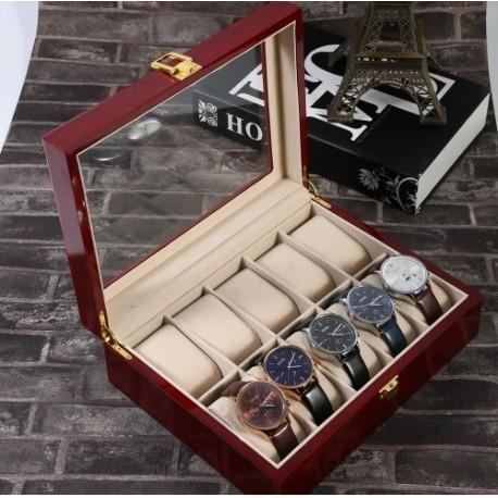 RESIGILAT Cutie depozitare 10 ceasuri de mana Lemn