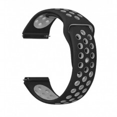 Curea silicon compatibila Samsung Galaxy Watch 42mm, telescoape QR, Negru/Gri