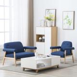 Set canapea de 3 persoane, 2 piese, material textil, albastru