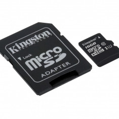 Card memorie Kingston microSDHC, 16GB, Canvas Select 80R, clasa 10 UHS-I (SDCS/16GB) + adaptor